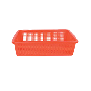 "Thunder Group PLFB004 Perforated Rectangular Red Basket 15.25"" x 12.25"""