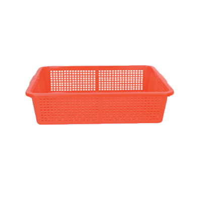 "Thunder Group PLFB001 Perforated Rectangular Red Basket 21.75"" x 17"""
