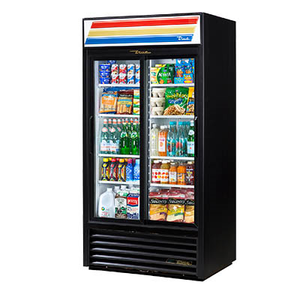 True GDM-33-HC-LD Refrigerated Merchandiser, Two-Section with Glass Sliding Doors