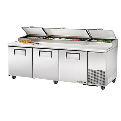 Pizza Prep Table, Three Section, 33-41°F, with Stainless Steel Covers