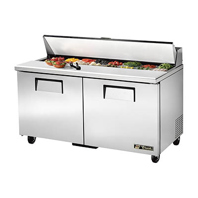 Sandwich/Salad Prep Unit, Two Section with Stainless Steel Cover