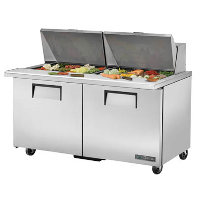 Mega Top Sandwich/Salad Prep Unit, Two Section with Two Stainless Steel Covers
