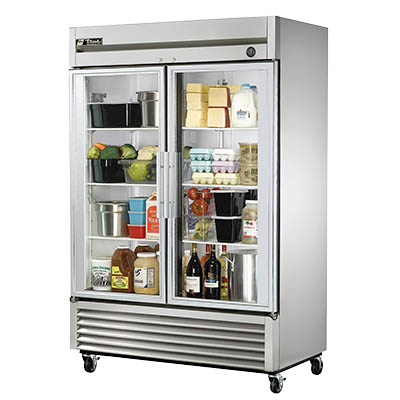 True T-49G-HC~FGD01 Two-Section Reach-in Refrigerator with (2) Glass Doors