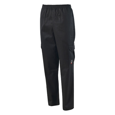 Winco UNF-11KM Cargo Chef Pants, Straight Leg, with Elastic Waistband, Medium