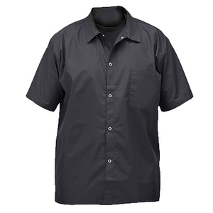 Winco UNF-1KM Medium Chef Shirts, Short-Sleeved, Snap Buttons, Black