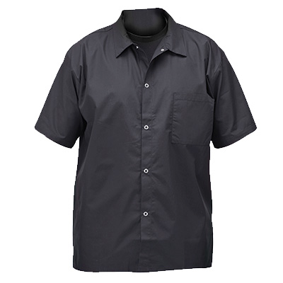 Winco UNF-1KM hef shirts, short sleeved, snap buttons, black, medium