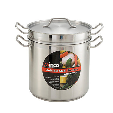 Winco SSDB-8 Stainless Steel Double Boiler With Cover 8qt