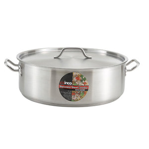 Winco SSLB-20 Stainless Steel Induction Brazier With Cover 20qt