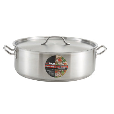 Winco SSLB-25 Stainless Steel Inducition Brazier With Cover 25qt