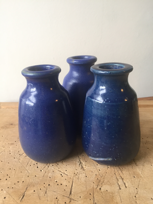 Set of three cobalt blue Ronuk jars