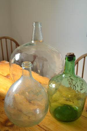 Small Clear Glass Car Boy / Demijohn