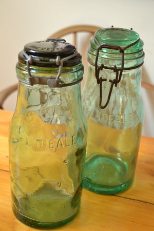 French L'Ideale Vintage Green Glass Preserving Jars