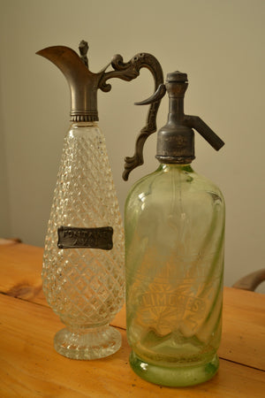 French Pale Green Glass Soda Siphon
