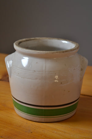 Vintage Earthenware Pot with Green Stripe