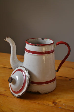 Vintage Coffee jug with Red Stripe
