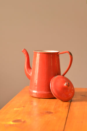 Red Enamel Coffee Pot
