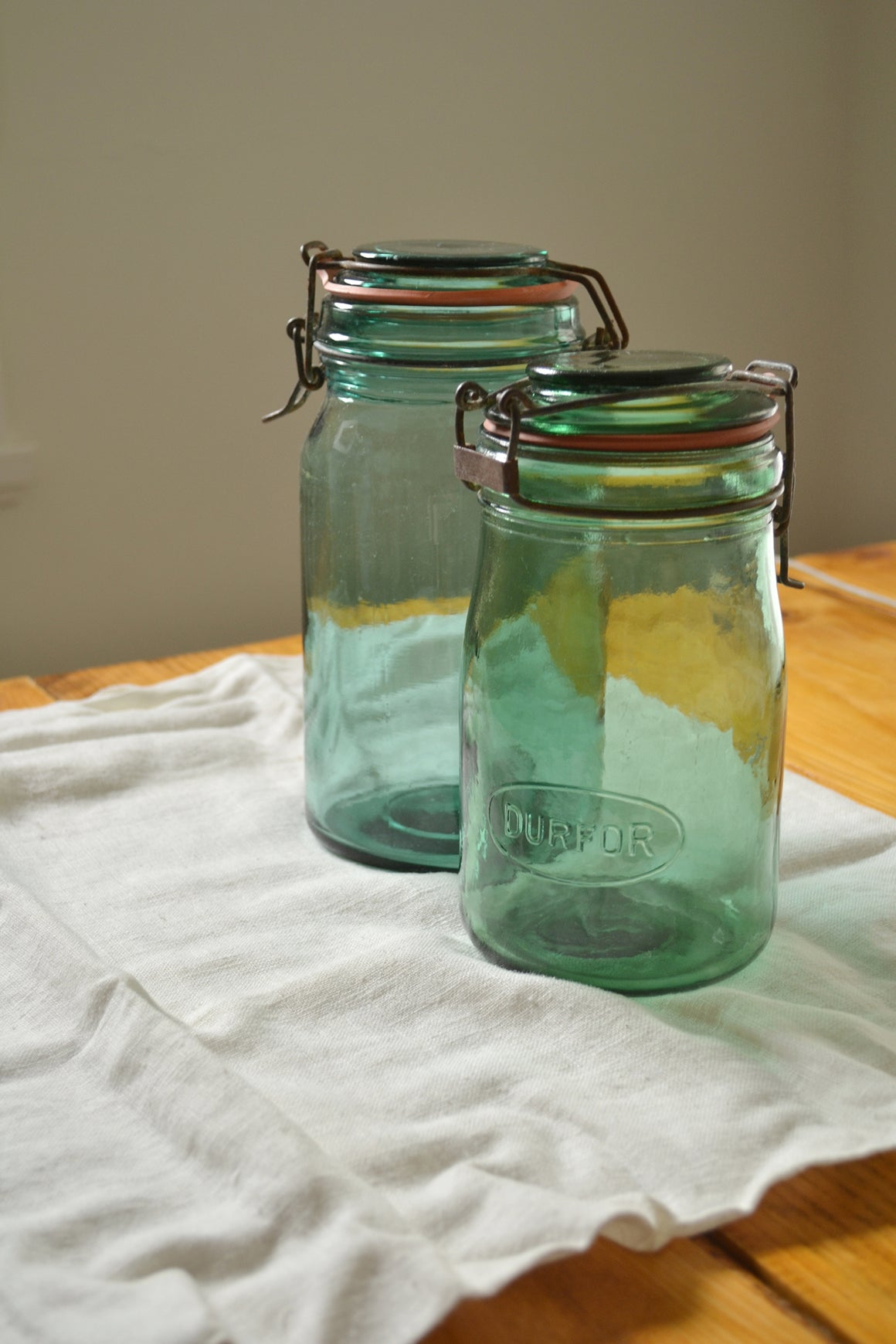 French Vintage Green Durfor Glass Kitchen Jar