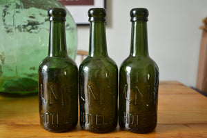 "English Vintage Railway ""LMS Hotels"" Dark Green Bottles"