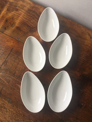 Set of five Limoges avocado bowls