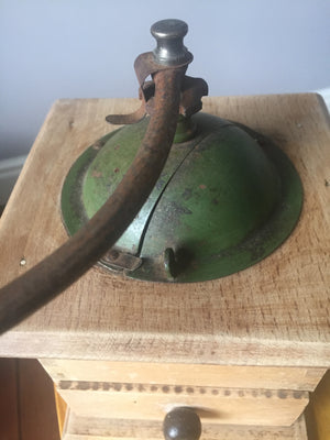 Vintage AG Green Wood Coffee Grinder