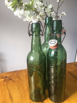 Vintage French green bottle