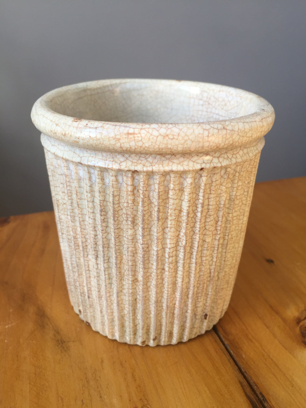 Vintage ribbed and crazed stoneware ink pot