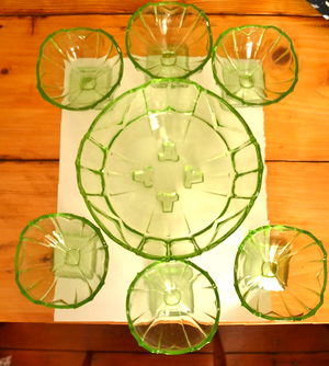 1950s Green Glass Trifle Set