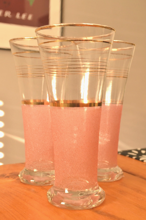Set Of Three 1950s Pink and Gold Glasses