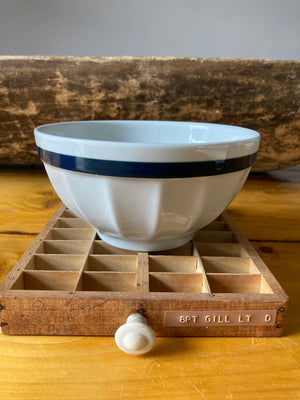 Cream and navy stripe cafe au lait bowl