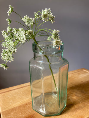 Medium Green Glass Jar Hexagonal Sides