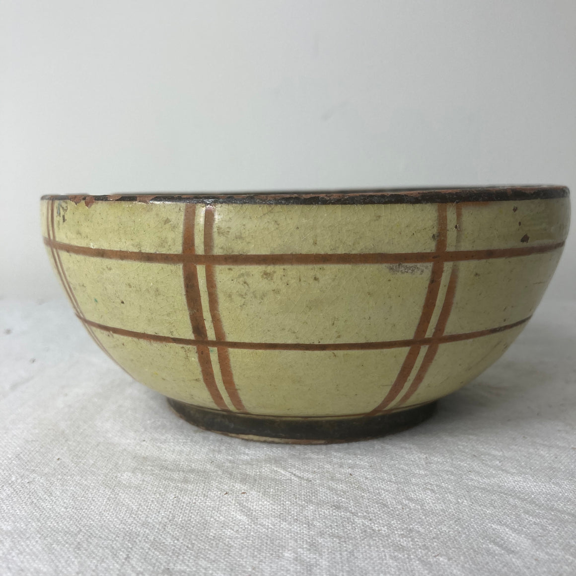 Petite yellow and brown check bowl