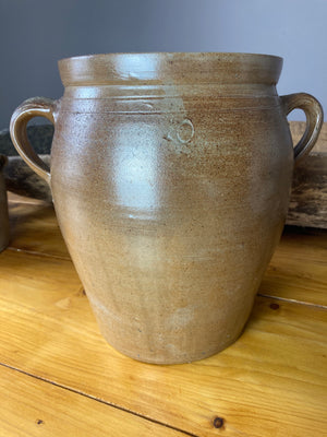 Extra large two handled brown confit pot