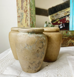 Set of three mini earthenware celery pots