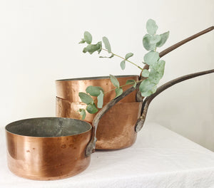Set of Three French Copper Pans