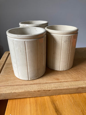 Small Stoneware Pot Ribbed Finish
