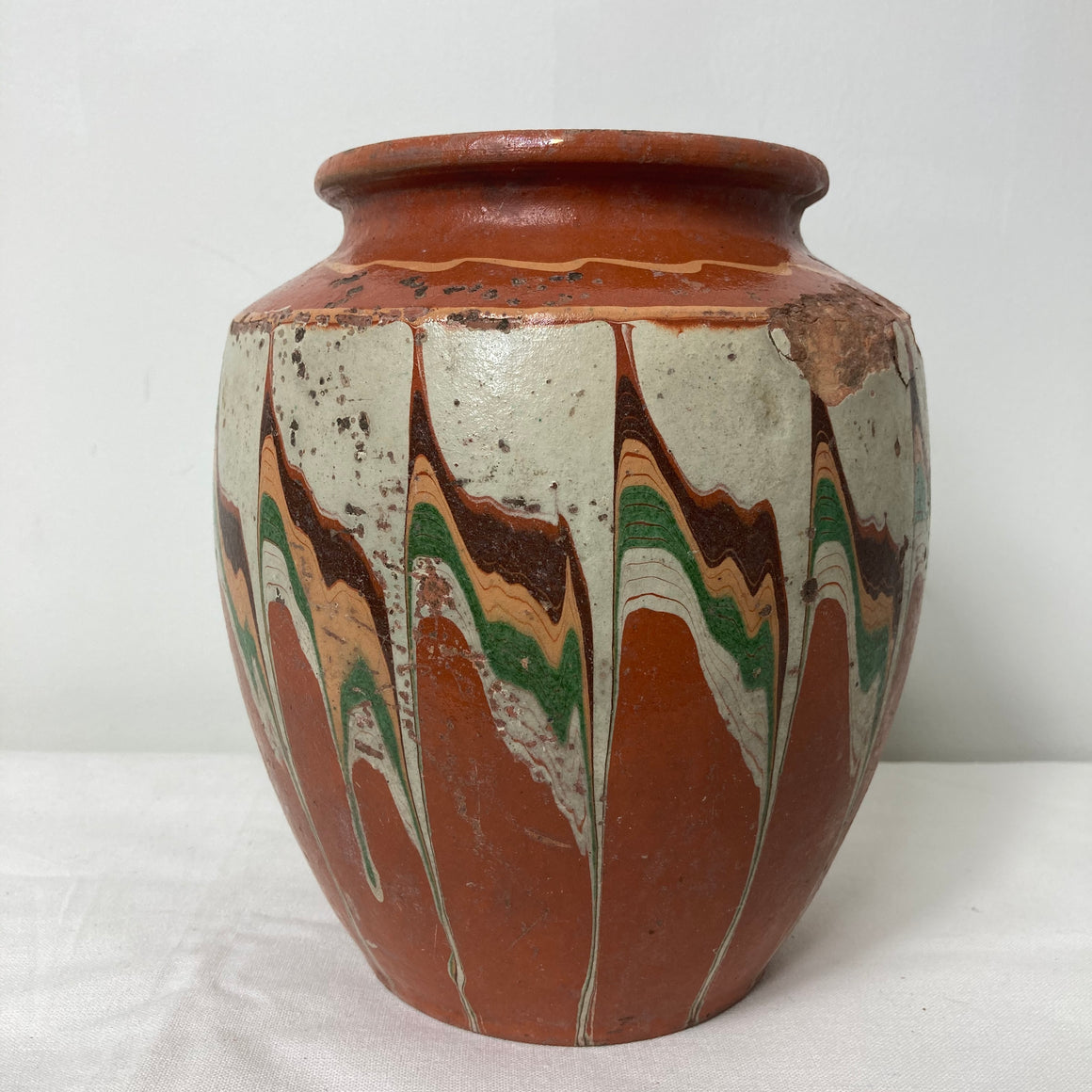 Rustic vase with chevron design