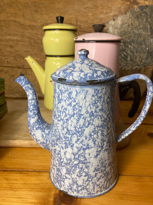 Blue and White Speckle Enamel Coffee Pot