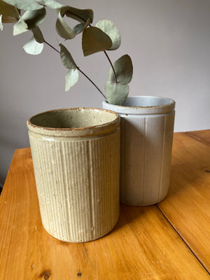 Brown Ribbed Stoneware Pot