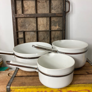 Set of Aluminite Frugier Limoges saucepans