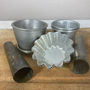 Set of vintage metal baking moulds