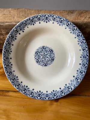 Blue and white transferware plate