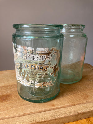 Vintage Glass Jam Jar Beautiful Patina