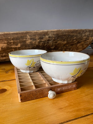 Yellow leaf print cafe au lait bowl
