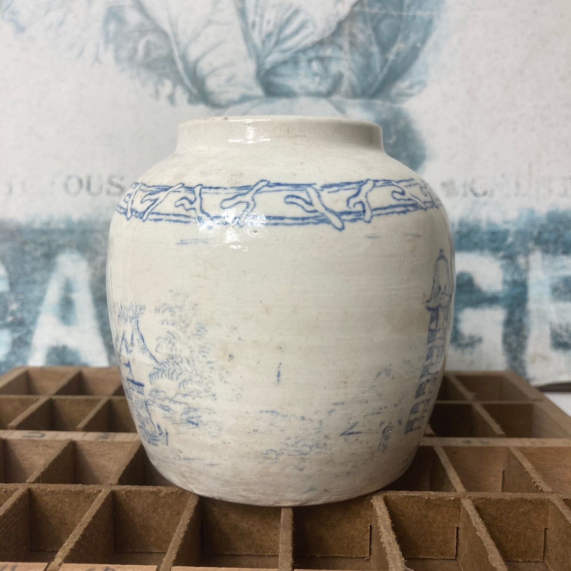 Petite blue and white ginger jar