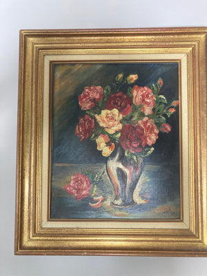 Floral oil painting on board, framed