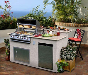 Cal Flame E6016 Outdoor Kitchen 4 Burner Barbecue Grill Island With  Refrigerator