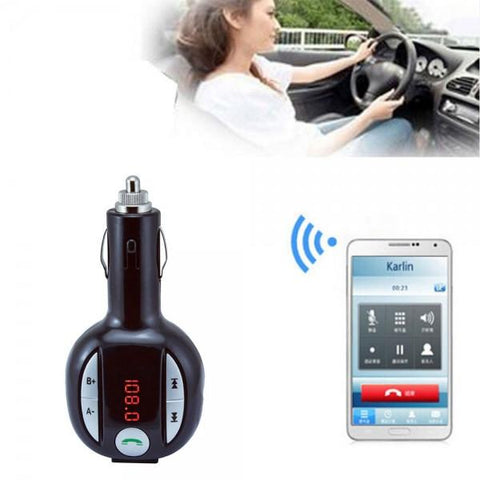 300E Wireless Hands-free Bluetooth FM Transmitter Car MP3 Player Black