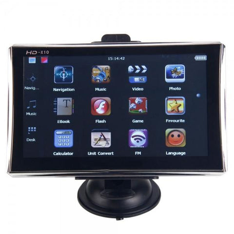"7"" Frosted Touch Screen Car GPS Navigator with 4GB US & Canada & Mexico Map Black & Silver"