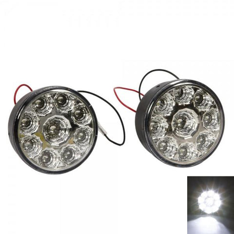 9 SMD DC 12V 6000K LED Car Fog Lights White (Pair)