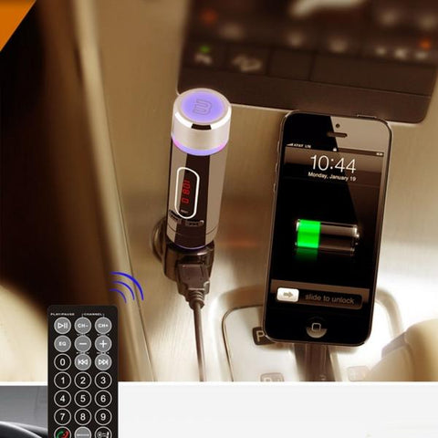 Car Kit MP3 Player Bluetooth LCD FM Transmitter Modulator TF MMC USB Remote Mic Black